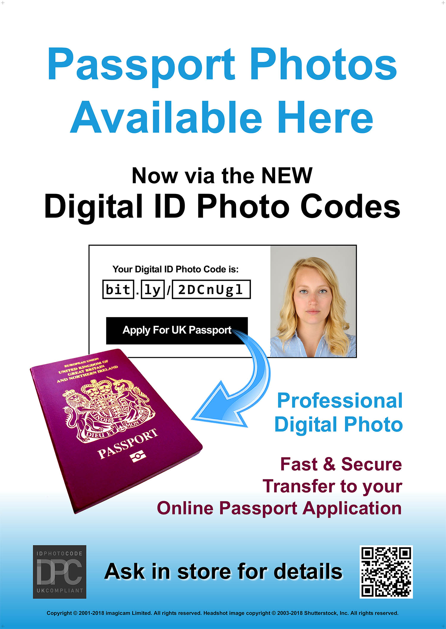 Poster promoting passport and ID photography